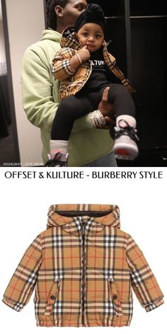 Offset with daughter Kulture Cephus wearing a Burberry Baby Beige Vintage Check Down Jacket. Celebrity Baby Pictures, Celebrity Baby Names, Celebrity Babies, Baby Photos, Baby Outfits, Toddler Girl Outfits, Fashion Design For Kids, Kids Fashion, Burberry Baby
