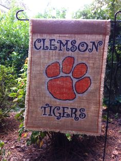Clemson Tigers ~Collegiate Collection~ Burlap Garden Flag On Etsy, $28.00