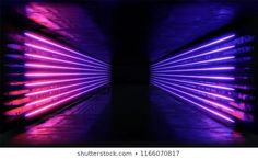 Geometric figure in neon light against a dark tunnel. Stage Lighting, Neon Lighting, Lighting Design, Wallpaper Windows 10, Infinity Mirror, Neon Backgrounds, Ceiling Light Design, All Of The Lights, Neon Glow