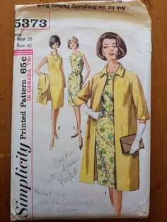 Vintage 1960's Simplicity Pattern 5373 Misses Dress and Coat