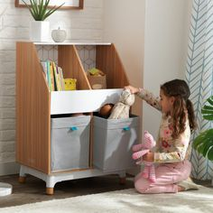 Now, even your kids' furniture can exist cohesively with the rest of your home's style with the addition of the KidKraft Mid-Century Kid Collection. This Mid-Century Kid Bin Storage Unit can house toys, stuffed animals and games in an attractive, sturdy f Small Figurines, Plan Toys, Green Toys, Toy Organization, Mid Century Modern Design, Storage Bins, Kids Furniture, All Modern, Wood