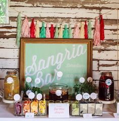 "Sangria bar for the wedding - less alcohol heavy than serving just wine. Also, it's self-serve. And, tastes good made with ""budget"" wine, so great for the overall budget too!"