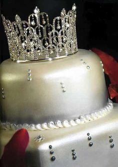 Rhinestone Teardrop Royal Tiara Crown Cake Topper - Affordable Elegance Bridal -