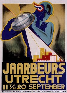 Art Deco Poster by Jaarbeeurs Utrecht's, art, retro, vintage A4 Poster, Retro Poster, Kunst Poster, Art Deco Illustration, Diesel Punk, Utrecht, Pop Art, Pulp, Art Deco Posters