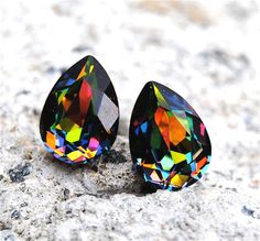 Rainbow Vitrail Swarovski Crystal Stud Small Duchess Pear Earrings Mashugana