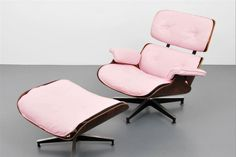 """Black leather was the standard finish for Charles & Ray Eames' (for Herman Miller) rosewood and metal lounge chair with ottoman, but take a look at this beauty in pastel pink. It was actually a custom order and, decades later, was featured in Leslie Pina's reference book """"Classic Herman Miller (Schiffer, 1998)."""" One of the most significant furniture designs of the 20th century, the Eames lounge chair was introduced in ..."""