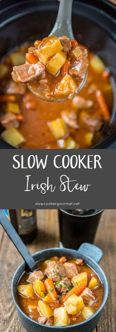 The perfect simple and hearty meal! Slow Cooker Irish Stew is loaded with tender… The perfect simple and hearty meal! Slow Cooker Irish Stew is loaded with tender pork shoulder, veggies and your favorite stout beer. Irish Stew Slow Cooker, Crock Pot Slow Cooker, Slow Cooker Recipes, Crockpot Recipes, Pork Stew Slow Cooker, Meal Recipes, Cooking Recipes, Slow Cooking, Slow Cooked Meals