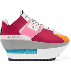 Y-3 - + Adidas Originals Kyura Paneled Mesh Platform Sneakers ($182) ❤ liked on Polyvore featuring shoes, sneakers, claret, y3 sneakers, y3 shoes, rubber sole shoes, platform sneakers and colorful shoes