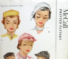 1950s Vintage McCall Printed Pattern Misses Hat Cap Sewing Pattern McCalls 1604