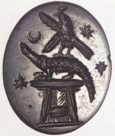 Talismans - Magical gem: Crocodile on altar with falcon