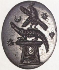 Talismans - Magical gem: Crocodile on altar with falcon