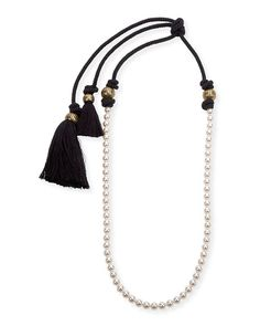 "Lanvin- Long Pearly Necklace with Tassel Ends, 39.5"" -   $685.00"