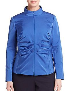 Lafayette 148 New York, Plus Size Ruched Zip-Front Jacket - Riviera -