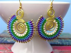 Boho Earrings, Tribal Earrings, Bohemian Earrings, Hippie Earrings, Brass Earrings, Purple, Blue, Green, White, Brass JK925 E17016