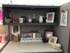46 Inspiring Office Cubicle Decoration Ideas - office space - Home Office Work Cubicle Decor, Cute Cubicle, Cubicle Organization, Work Desk Decor, Cubicle Design, Office Space Decor, Cubicle Ideas, Cubicle Decorations, Decorate Office Cubicle