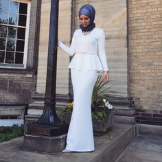 Grad '15  _____________________________ This gorgeous white peplum dress is from @kabayarefashion. So glad I wore it, it was perfect! Gray viscose hijab by @uniquehijabs  #simplycovered #hijabfashion