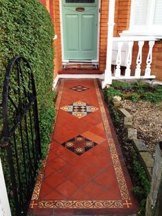 At first sight, this Victorian tiled pathway in Palmers Green, did not appear to need too many repairs, with just a few obvious broken and loose tiles to be fixed. On closer inspection however it became clear it was in need of a deep clean and fresh seal. Porch Tile, Patio Tiles, Outdoor Tiles, Front Garden Path, Front Path, Brick Columns, Quarry Tiles, Victorian Tiles, Door Steps
