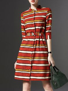 Burgundy Polyester Sheath Buttoned Half Sleeve Shirt Dress