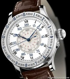 The @longineswatches Lindbergh Hour Angle Watch - its 47.5-mm steel case holds Longines automatic Caliber L699 and features a transparent caseback with a pocketwatch-like clasp cover.  Many of its elements are directly taken from the original model, such as the white lacquered dial with manually rotated silvered sub-dial.  More @ http://www.watchtime.com/featured/vintage-eye-for-the-modern-guy-longines-heritage-lindbergh-hour-angle-watch/ #longines #watchtime #pilotswatch