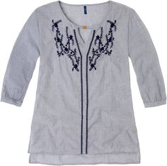 Weekend. Modelo: G815A0319575KAR. Blusa con bordado, cuello mao, manga 3/4. Tunic Tops, Manga, Blouse, Mens Tops, T Shirt, Women, Fashion, Templates, White Blouses