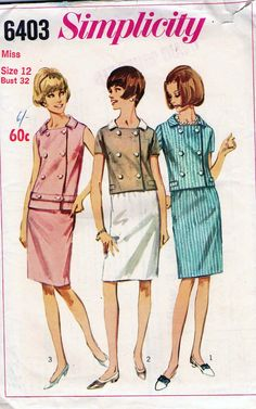 60s Vintage sewing pattern Simplicity 6403 skirt suit