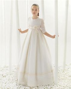 Kids Ball Gown Flower Girl Dresses For Weddings Girls Pageant Dresses Half Sleeve Lace Birthday Gathering Gowns First Communion Party Dress Flower Girl Dress Pattern Flower Girl Dresses For Babies From Kingdresses_lady, $67.34| Dhgate.Com