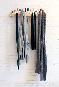 Cute DIY Hanging Rack! For coats or hats leave space between screwdrivers...