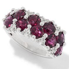 155-471 - Gem Treasures® Sterling Silver Gemstone & White Zircon Band Ring