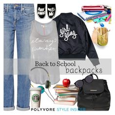 """""""Rule School: Cool Backpacks"""" by eula-eldridge-tolliver ❤ liked on Polyvore featuring Genetic Denim, Sundry, Frends, Dorothy Perkins and Yves Saint Laurent"""
