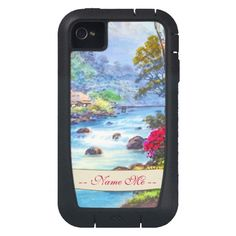 Farm By Flowing Stream K Seki watercolor scenery iPhone 4 tough xtreme case with custom name #iphone4 #cases #iphone #water #stream #customized