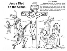 Jesus died on the Cross Free Bible Coloring Pages, Cross Hands, Bible Stories, New Testament, His Hands, Memes, Spring, Christians, Domingo