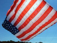 American Flag Kite Flying in the Sky.