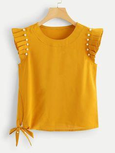 design of blouse Pearl Beaded Pleated Blouse -SheIn(Sheinside) Kids Dress Wear, Dresses Kids Girl, Kids Outfits, Kurti Sleeves Design, Sleeves Designs For Dresses, Baby Frocks Designs, Kids Frocks Design, Baby Dress Design, Frock Design