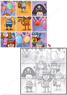 Jigsaw Puzzle with Kids on the Masked Ball Preschool Cutting Practice, Preschool Puzzles, Puzzles For Kids, Preschool At Home, Senses Activities, Toddler Learning Activities, Earth Day Worksheets, Dots And Boxes, Clown Crafts
