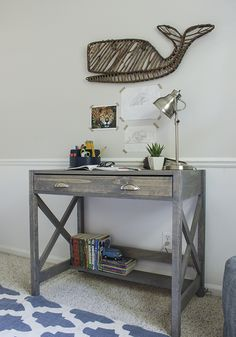 Ana White | Build a X Frame Desk Featuring Shades of Blue Interiors | Free and Easy DIY Project and Furniture Plans