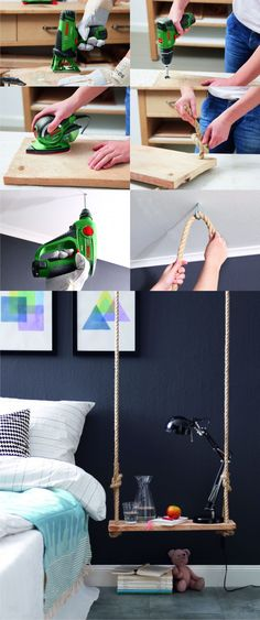 DIY Hanging Bedside Table - homestory.rp-online.de - Mesita colgante DIY