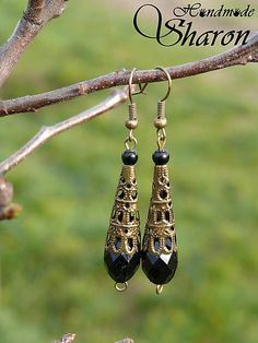 Night sky handmade dangle earrings with oriental boho style in black colour. Still elegant and simple jewellery to fit anything