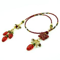 Beaded Bookmark / Bookthong  Ruby Red by BrossARTaddiction on Etsy, $19.50