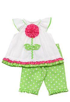 Rare Editions Flower Dot Capri Set Toddler Girls