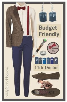 "11th Doctor | Doctor Who - Budget Friendly by chelsealauren10 "" Blonde + Blonde tweed jacket, $61 / VILA , $26 / Flat shoes / TARDIS Earrings / River Island Dark Red Braces, $24 / Doctor Who Ring -..."