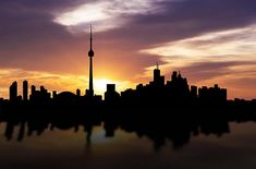 Toronto Canada Sunset Skyline by Aged Pixel Toronto Skyline, Canvas Prints, Framed Prints, Toronto Canada, Wood Print, Beverly Hills, Ontario, Age, Urban