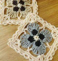 Lace Crochet Square with 4 Petal Flower. MOTIVOS, GRANNYS E SQUARES EM CROCHET, granny motifs, croche gratis, free crochet, crochet patterns, patron para crochet. More Great Looks Like This