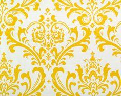 Bright Cornflower Yellow and White Traditions Damask Design Custom Shower Curtain. $119.00, via Etsy.