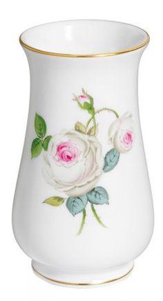 "Vase, Shape ""Neuer Ausschnitt"", White rose with purple centre, gold rim, H 10 cm"