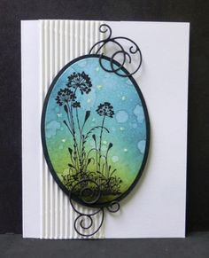"""By hobbydujour at Splitcoaststampers. Uses stamp from """"Serene Silhouettes"""" by Stampin ' Up. Stamp in black & heat emboss with clear powder. Sponge background. Mist or flick on water. Die cut image & mat with oval dies. Die cut flourishes (Memory Box). Crimp white panel; attach to card base. Pop up oval image layered onto oval black piece. Add flourishes."""