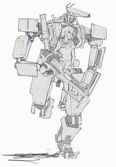 alphamecha: 20160322 by Zhangx - sekigan Fighting Robots, Robot Concept Art, Futuristic Art, Robot Design, Cyberpunk Art, Mechanical Design, Character Design Inspiration, Character Concept, Fantasy Characters