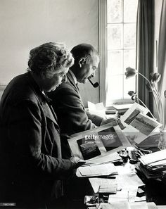 January 1946, English crime writer Agatha Christie pictured with her husband Prof, Max Mallowan at their home, Winterbrook House, Wallingford