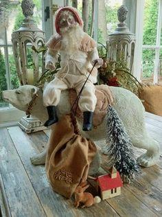 Everyone looks better riding a polar bear.  ANTIQUE GERMAN STYLE SANTA RIDING A POLAR BEAR   eBay