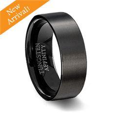 Brushed Black Ceramic Pipe Cut Ring | Men's Black Wedding Ring