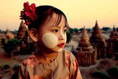 Little San San with her Thanaka face paint above the temples of Bagan, Burma. World Photography, Travel Photography, Burmese Girls, Balloon Rides, Painting People, Bagan, Cultural, Like A Local, Los Angeles